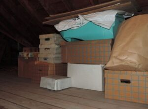 cluttered family attic